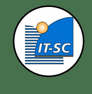 Blau-gelbes Logo der IT-SC in einem Kreis