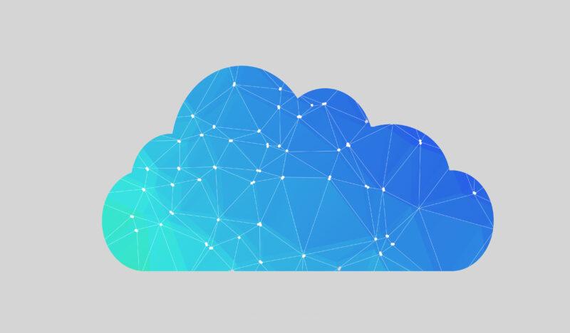 Eine blaue Wolke mit Partikeln